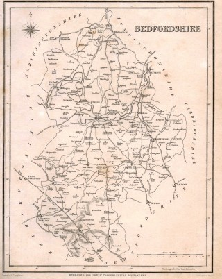 outline of county; roads; twons and villages; no railways   photo: Barbara Tearle