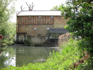 mill pond in foreground with reflection of the mill; surrounded to right and left by vegetation and trees; mill at centre back of image   photo: Stuart Antrobus