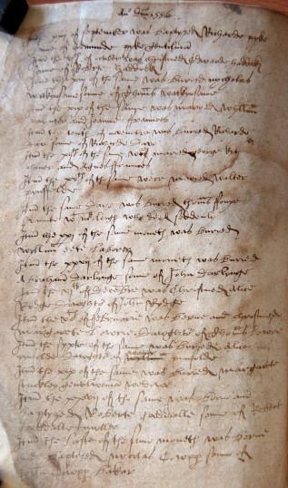 A page from the register of St Mary's, Bedford for 1556 (P81) | photo: Bedfordshire Archives and Records Service