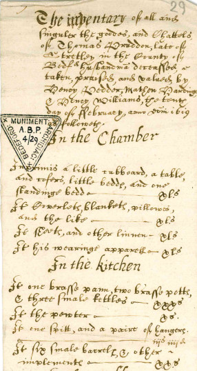 Inventory of Thomas Pruddon of Streatley1619 (ABP 4/29) | photo: Bedfordshire Archives and Records Service