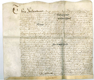 Marriage settlement of Elizabeth Norton of Stotfold in 1633, from the Trevor Wingfield collection (T48-31) | photo: Bedfordshire Archives and Records Service