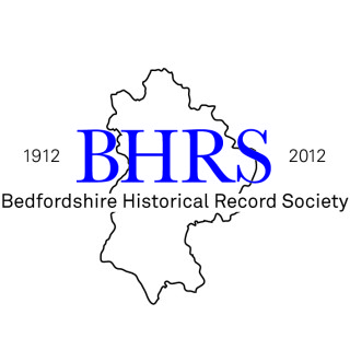 outline of Bedfordshire with the years 1912 and 2012 either side of the county; the letters BHRS in blue on the county; and the words Bedfordshire Historical Record Society below | designer: Laline Hay