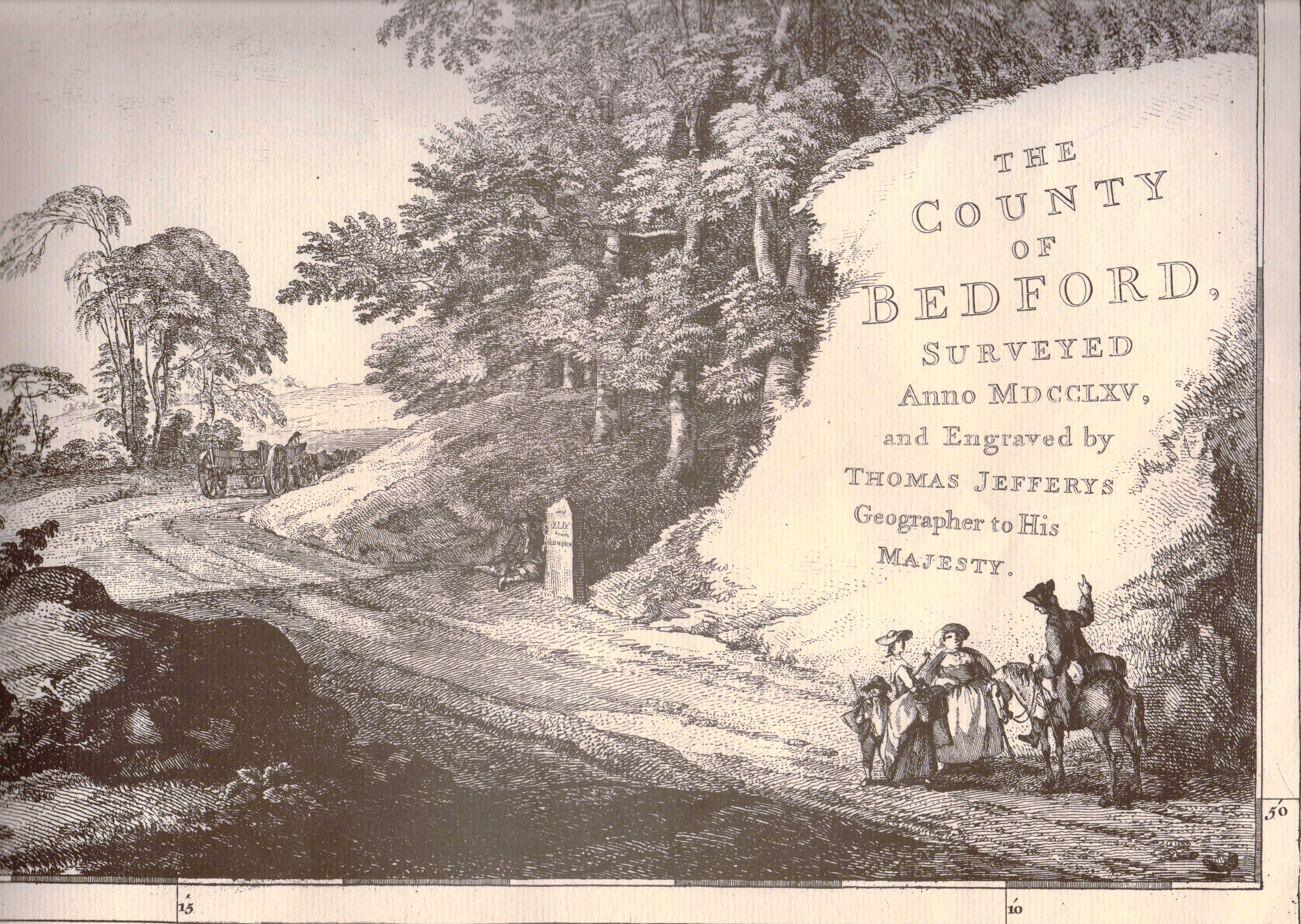 The County of Bedford surveyed Anno MDCCLXV and engraved by Thomas Jefferys